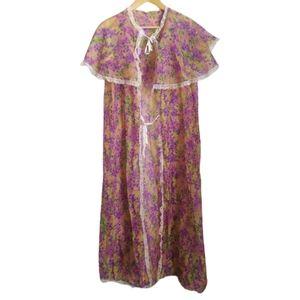 VINTAGE Retro Cottagecore Pastel Floral Large Collar Nighgown Robe Size Large